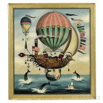 Ralph Cahoon (Massachusetts, 1910-1982) Seascape with Hot-air Balloons, Airship, Sailors, and Mermaids (Lot 164, Estimate $20,000-  $30,000)