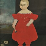 American School, Early 19th Century, Portrait of a Boy in Red Dress Holding a Hammer and Nail (Lot 37, Estimate $15,000-$25,000)