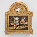Gilt-framed Musical Automaton Picture Clock Depicting a Farrier's Shop