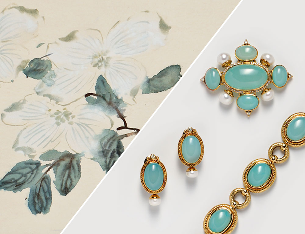 [Detail] (Left) Er-Shih Painting, Flowers (Estimate $800-$1,200) & (Right) Group of 18kt Gold and Green Chalcedony Jewelry (Estimate $2,500-$3,500)