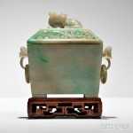 Jadeite Covered Censer, China, possibly Qianlong period (Lot 125, Estimate $10,000-12,000)