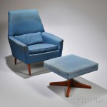 Dux Upholstered Hardwood Armchair and Ottoman, Sweden, mid-20th century (Lot 1148, Estimate $300-$500)