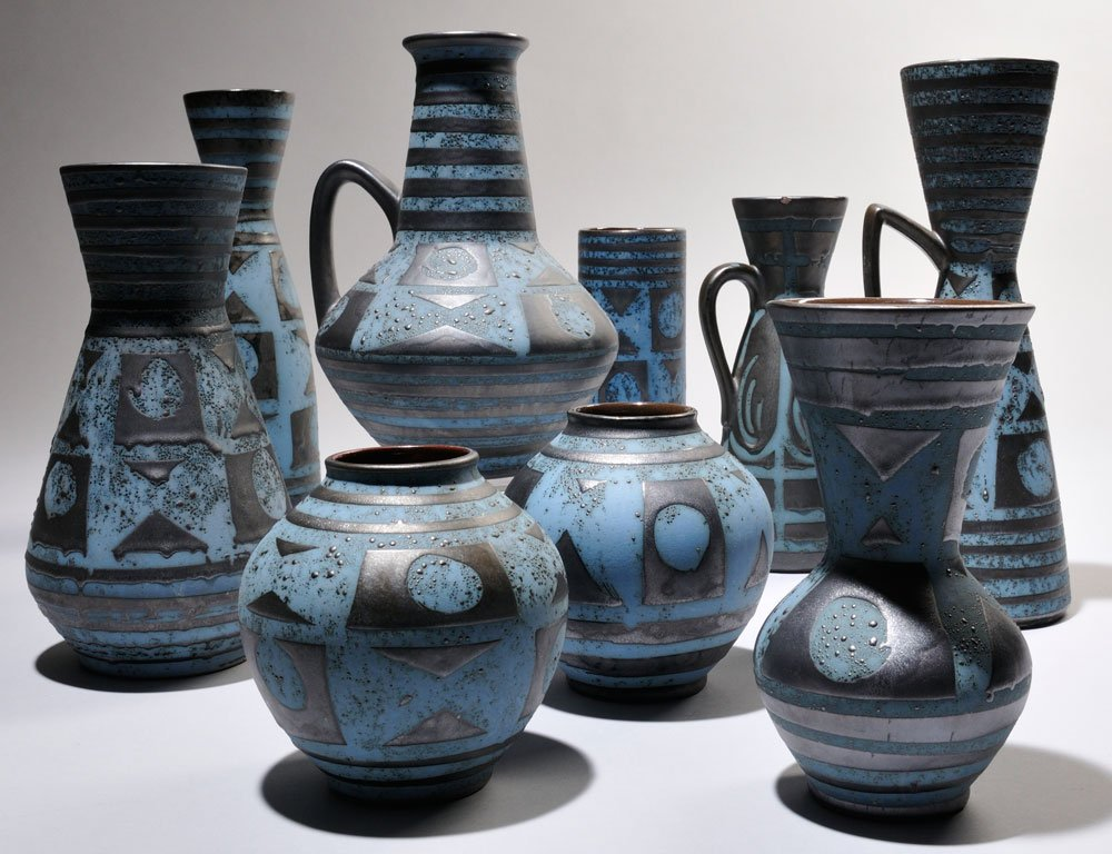 Nine Pieces of Carstens Tonnieshof Art Pottery, West Germany, 1945-84 (Estimate $300-$500)