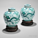 Pair of Blue and Green Dragon Jars, China, 19th century (Lot 313, Estimate $8,000-$10,000)