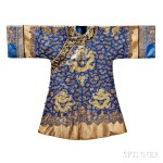 Blue Silk Formal Embroidered Dragon Robe, China, 19th/20th century (Lot 407, Estimate $3,000-$5,000)
