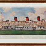 Gilt-framed Illustration of the R.M.S. Queen Mary (Estimate $2,000-$3,000)