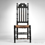 Black-painted Heart and Crown Side Chair, attributed to Andrew Durand, Milford, Connecticut, mid-18th century (Lot 28)