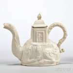 White Salt-glazed Stoneware Camel Teapot and Cover, England, c. 1745 (Lot 221, Estimate $2,500-$3,500)