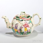 White Salt-glazed Stoneware Polychrome Enamel-decorated Teapot and Cover, England, c. 1755-65 (Lot 236, Estimate $2,500-$3,500)