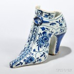 Tin-glazed Earthenware Model of a Shoe, England, c. 1710-30 (Lot 181, Estimate $2,000-$3,000)