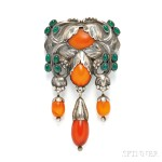 Silver and Amber Master Brooch, Georg Jensen (Lot 128, Estimate $6,000-$8,000)