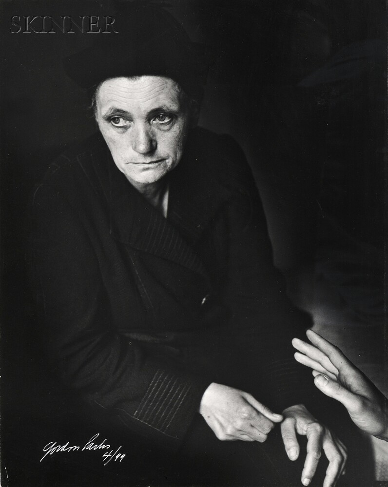Gordon Parks (American, 1912-2006) Mademoiselle Victoire Desno, Unemployed Old French Domestic, Paris, 1950, printed 1970s (Lot 102, Estimate $1,000-$1,500)