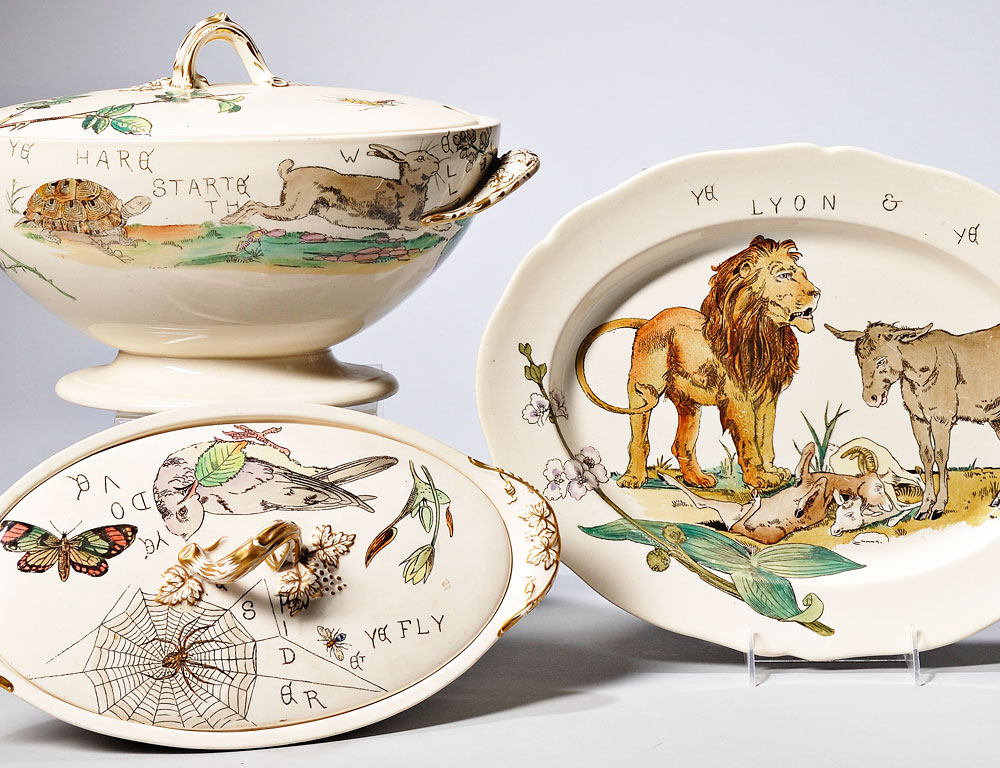 "[Detail] Six Pieces of Copeland Earthenware ""Aesop's Fables,"" England, 1879 (Estimate $300-$500)"