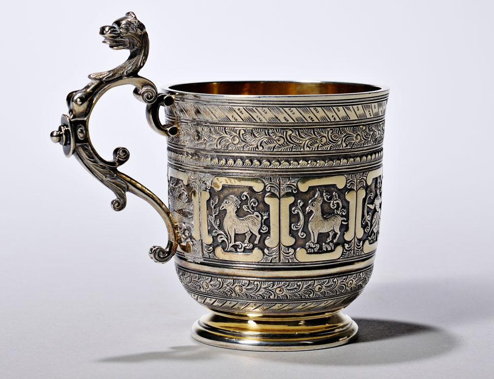 [Detail] Sterling Silver Footed Creamer with Scrolled Handle (Lot 1546, Estimate $400-$600)