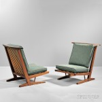 Two George Nakashima (1905-1990) Conoid Lounge Chairs, New Hope, Pennsylvania, 1981 (Lot 395, Estimate $8,000-$10,000)