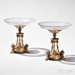 Pair of Victorian Elkington & Co. Champleve and Silver-gilt Tazza, mid to late 19th century (Lot 597, Estimate $3,000-$5,000)