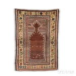 Konya Prayer Rug, Central Anatolia, 18th century (Lot 105, Estimate: $4,000-5,000)