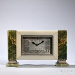 Art Deco Desk Clock Orange (Estimate: $200-300)