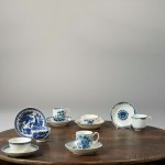 Eight Worcester Blue and White Porcelain Cups and Saucers, England, 18th century (Lot 1296, Estimate: $700-900)