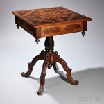 Victorian Parquetry and Carved Rosewood and Tiger Maple Games Table, America, 19th century (Lot 1412, Estimate: $400-600)