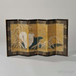 Miniature Painted Six-panel Screen, Japan, 19th century (Lot 606, Estimate: $600-800)