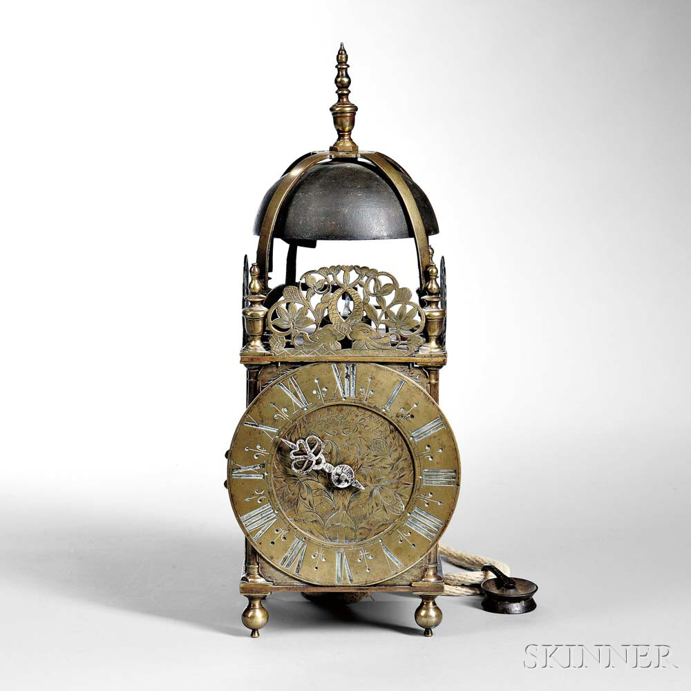 Joseph Jackman Brass Lantern Clock, London, c. 1690 (Lot 600, Estimate: $3,000-4,000)