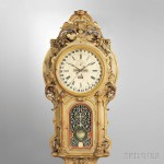Monumental Carved and Gilded Perpetual Calendar Wall Clock, Calendar Clock Company, Hartford, Connecticut, c. 1855 (Lot 718, Estimate: $25,000-45,000)