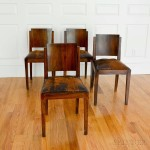 Set of Four Art Deco Leather-upholstered Rosewood Dining Chairs (Lot 1200, Estimate: $400-600)
