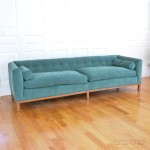 Dunbar Green Plush Upholstered Low-back Settee (Lot 1209, Estimate: $400-600)
