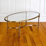 Vintage Silver- and Gold-tone Oval Glass-top Coffee Table (Lot 1230, Estimate: $40-60)