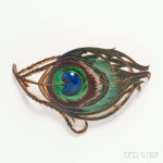 Piel Freres Art Nouveau Enameled Peacock Buckle (Lot 1031, Estimate:   $400-600)