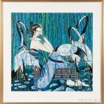 Framed Ting Shao Kuang (Chinese, b. 1939) Lithograph of a Woman and   Cranes, 1984 (Lot 2298, Estiamte: $600-800)