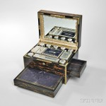 Victorian Brass-inlaid and Coromandel Toiletry Box, Sheffield, c. 1865 (Lot 20, Estimate: $2,000-4,000)