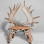 Antler Chair, Composition, antler, wood, metal, 20th century (Lot 1027,   Estimate: $400-600)