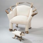 Steer Horn Lounge Chair with Footstool, Horn, hooves, upholstery,   United States, 20th century (Lot 1117, Estimate: $400-600)