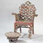 Rick Ladd Bottle Cap Chair and Footstool, Bottle caps, painted wood,   glass, metal, Brooklyn, New York, 1990 (Lot 1130, Estimate: $600-800)