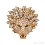 18kt Gold, Diamond, and Emerald Brooch, Van Cleef & Arpels, c. 1960s  (Lot 402, Estimate: $20,000-30,000)