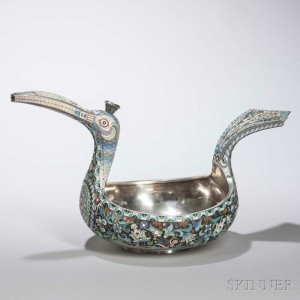 Russian .875 Silver and Cloisonné Enamel Kovsh, 1896-1908 (Lot 218, Estimate: $8,000-12,000)