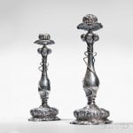 Pair of George Shiebler Art Nouveau Sterling Silver Candlesticks, New York, c. 1900 (Lot 288, Estimate: $8,000-12,000)