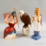 Three Contemporary Folk Art Polychrome Carved Figures (Lot 3, Estimate $200-300)
