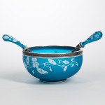 Help your host to set an elegant holiday table with this bright blue salad bowl. Thomas Webb & Sons Blue Cameo Glass Salad Bowl and Two Gorham Sterling-mounted Servers, Lot 2234