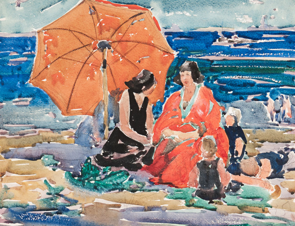 Charles Basing (American, 1865-1933) Women and Children on the Beach (Estimate $600-800)